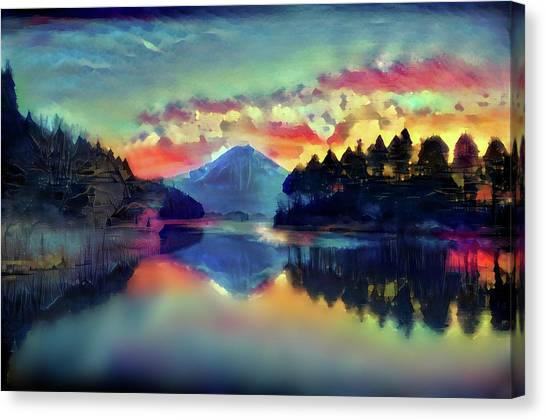 Mount Fuji Canvas Print - Japanese Amazing Inverted Image Of Mt. Fuji Mt. Fuji Modern Interior Art by ArtMarketJapan