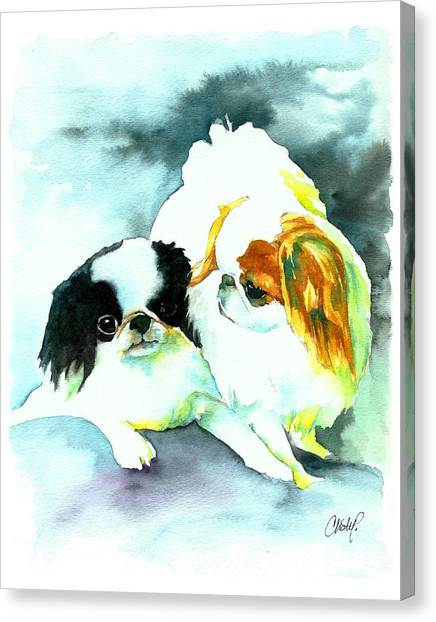 Chin Canvas Print - Japanese Chin Dog by Christy  Freeman