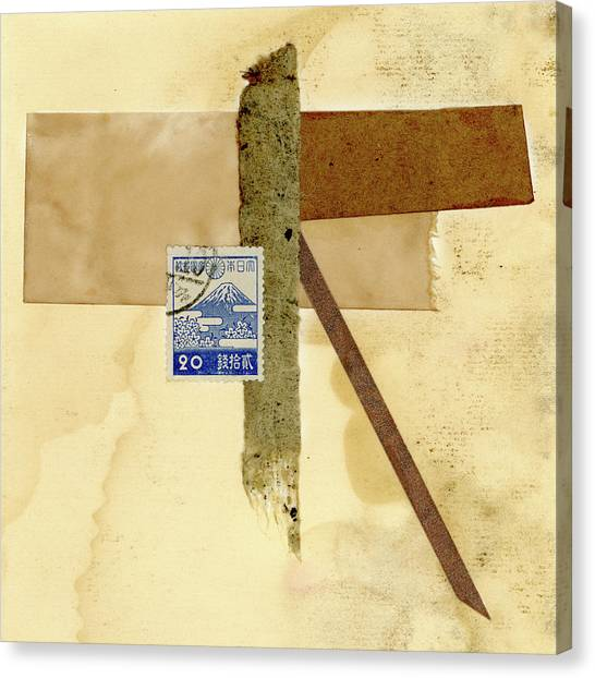 Simple Canvas Print - Japanese Collage With Fujiyama Postage Stamp by Carol Leigh