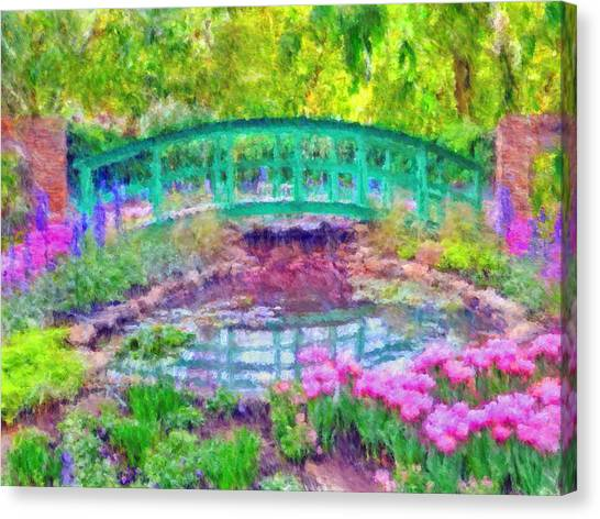 Canvas Print featuring the digital art Japanese Footbridge At Phipps Conservatory 2 by Digital Photographic Arts
