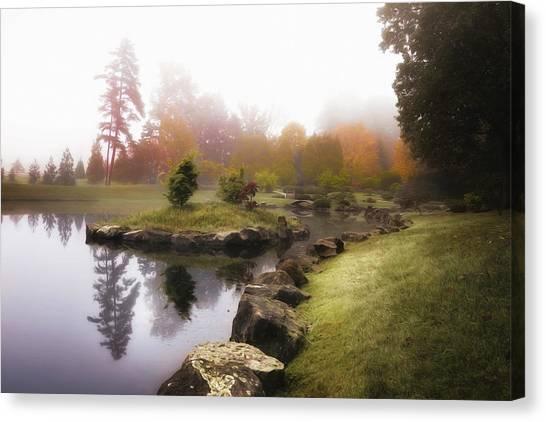 Foggy Forests Canvas Print - Japanese Garden In Early Autumn Fog by Tom Mc Nemar