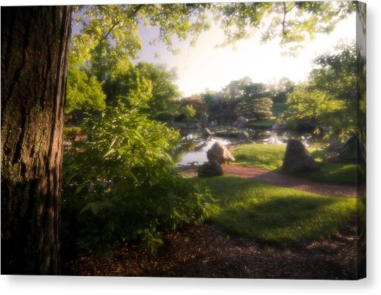 Japanese Garden In The Morning Canvas Print