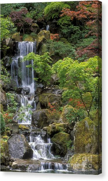 Japanese Gardens Canvas Print - Japanese Garden Waterfall by Sandra Bronstein