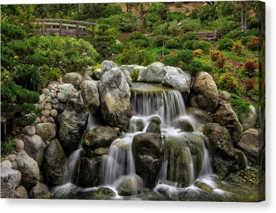 Japanese Garden Waterfalls Canvas Print