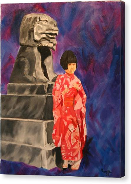 Japanese Girl With Chinese Lion Canvas Print by Marilyn Tower