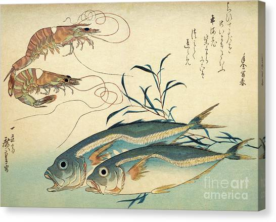 Chinese Restaurant Canvas Print - Japanese Horse Mackerel And Japanese Tiger Prawn by Hiroshige