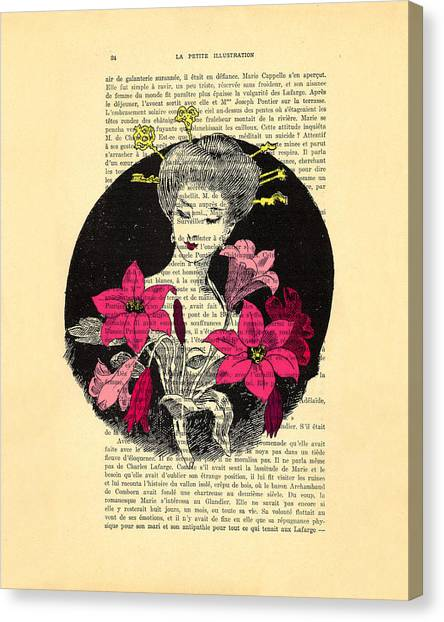 Amaryllis Canvas Print - Japanese Lady With Cherry Blossoms by Madame Memento