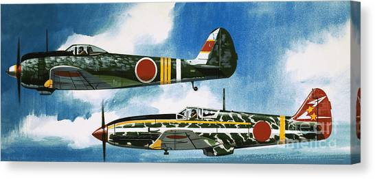 Blue Camo Canvas Print - Japanese Nakajima Hayate And Kawasaki Toryu Fighters by Wilf Hardy