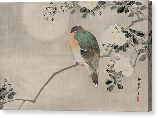 Pigeons Canvas Print - Japanese Silk Painting Of A Wood Pigeon by Japanese School