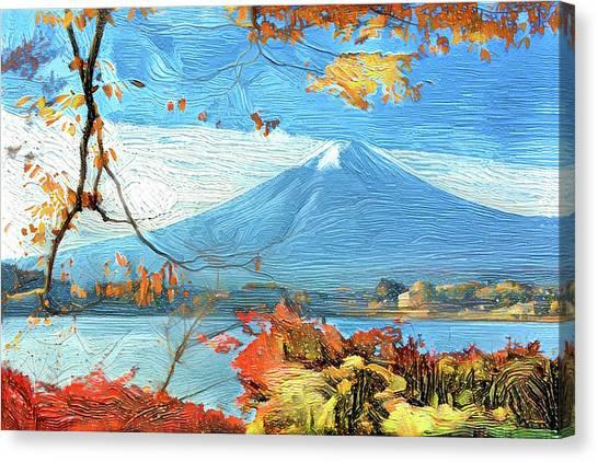 Mount Fuji Canvas Print - Japanese  Skyline Mt. Fuji Modern Interior Art by ArtMarketJapan