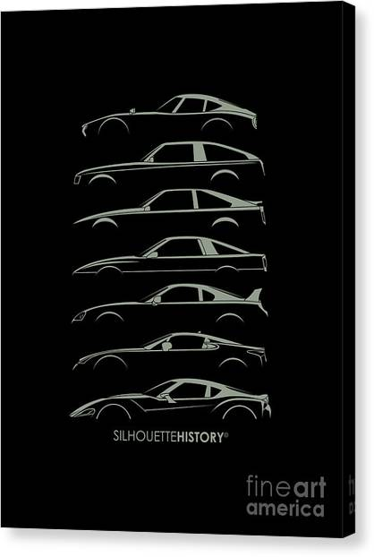 Toyota Canvas Print - Japanese Sports Car Silhouettehistory by Gabor Vida
