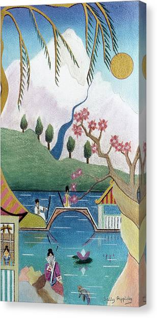 Japanese Willow Canvas Print by Sally Appleby