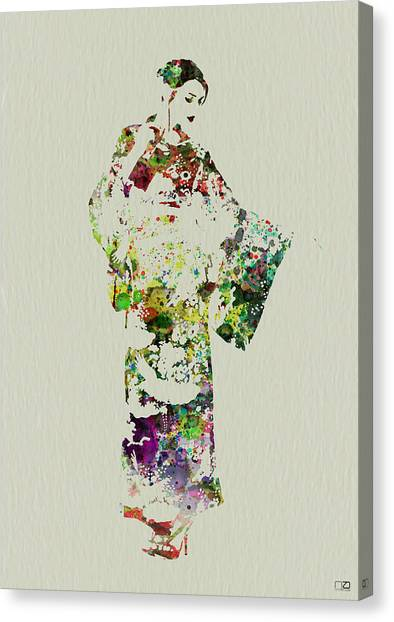 Costume Canvas Print - Japanese Woman In Kimono by Naxart Studio