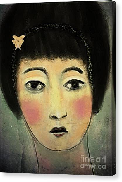 Japanese Woman With Butterflies Canvas Print