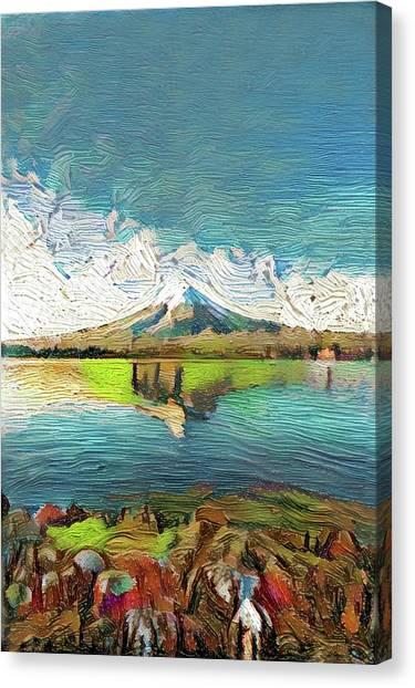 Mount Fuji Canvas Print - Japanese  Wonderful Mt. Fuji Modern Interior Art Painting by ArtMarketJapan