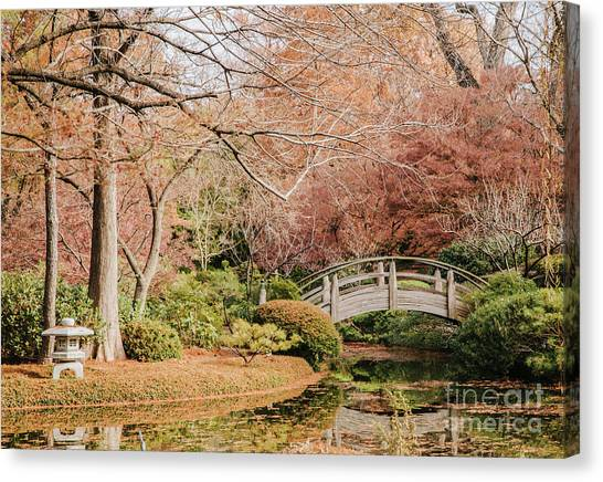 Japanese Garden Bridges Canvas Print   Japnese Garden In Fall By Iris  Greenwell