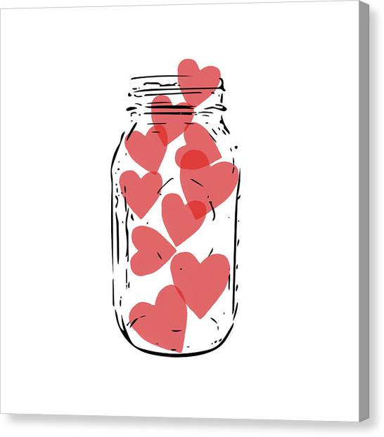 Jar Canvas Print - Jar Of Hearts- Art By Linda Woods by Linda Woods