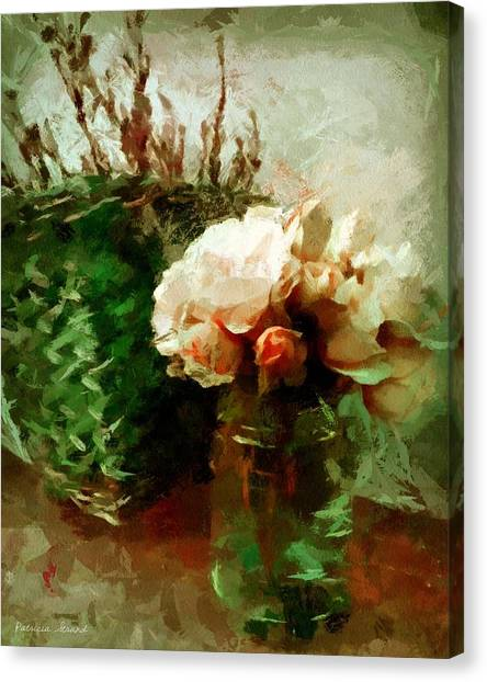 Jar Of Roses With Lavender Canvas Print