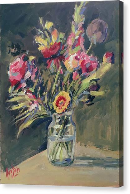 Canvas Print - Jar Vase With Flowers by Nop Briex