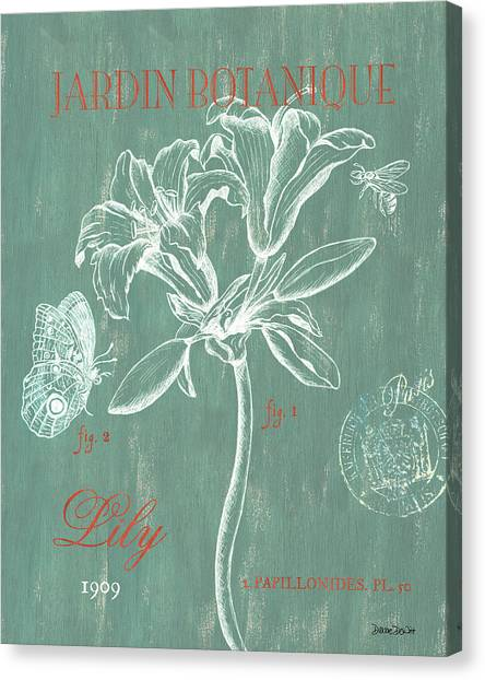 Lilies Canvas Print - Jardin Botanique Aqua by Debbie DeWitt
