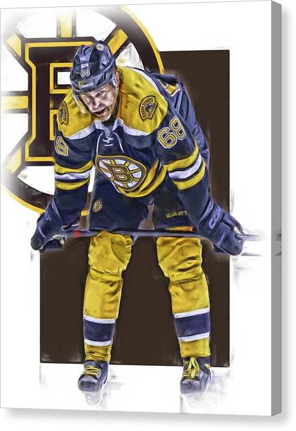 Boston Bruins Canvas Print - Jaromir Jagr Boston Bruins Oil Art Series 4 by Joe Hamilton