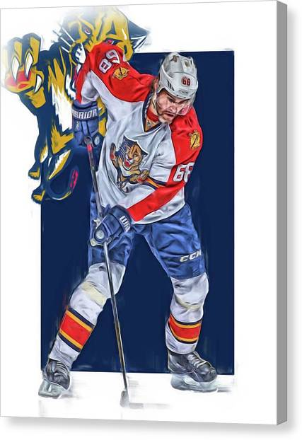 Florida Panthers Canvas Print - Jaromir Jagr Florida Panthers Oil Art Series 3 by Joe Hamilton
