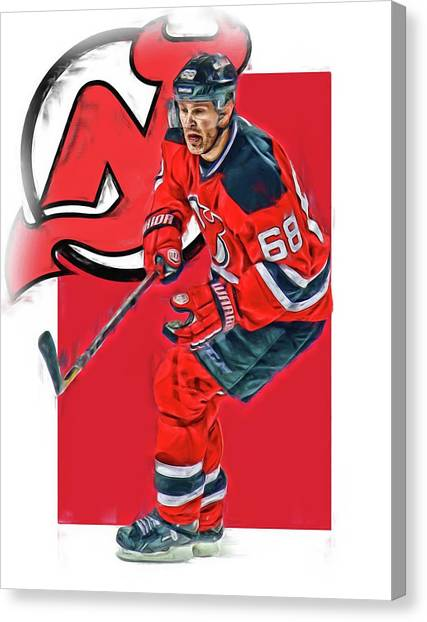 New Jersey Devils Canvas Print - Jaromir Jagr New Jersey Devils Oil Art Series 1 by Joe Hamilton