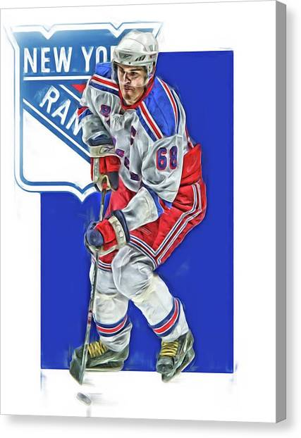 New York Rangers Canvas Print - Jaromir Jagr New York Rangers Oil Art Series 5 by Joe Hamilton