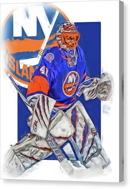 New York Islanders Canvas Print - Jaroslav Halak New York Islanders Oil Art by Joe Hamilton