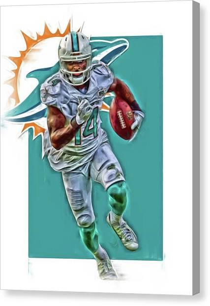Miami Dolphins Canvas Print - Jarvis Landry Miami Dolphins Oil Art by Joe Hamilton