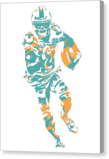 Miami Dolphins Canvas Print - Jarvis Landry Miami Dolphins Pixel Art 7 by Joe Hamilton