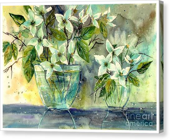 Clover Canvas Print - Jasmine In Glass by Suzann's Art