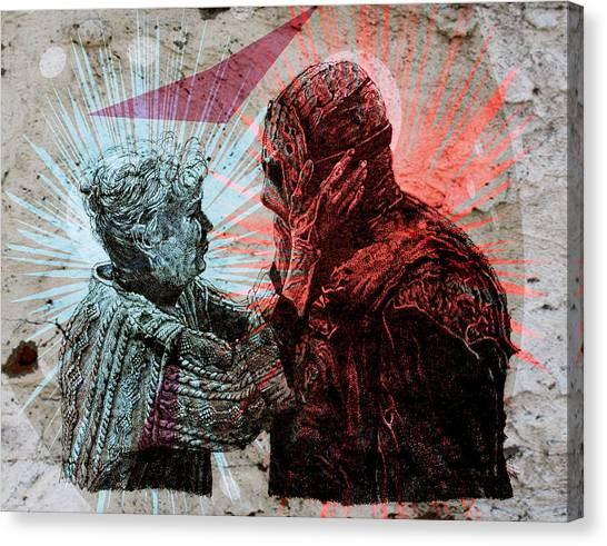 Pen And Ink Drawing Canvas Print - Jason And Mrs Voorhees by Zoe Wall
