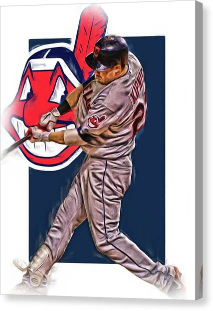 Cleveland Indians Canvas Print - Jason Kipnis Cleveland Indians Oil Art 2 by Joe Hamilton