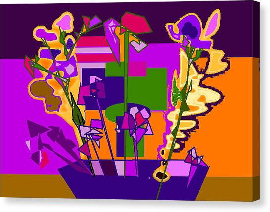 Jaune Mauve V Canvas Print by Therese AbouNader