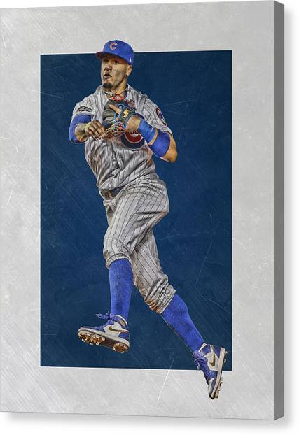 Chicago Cubs Canvas Print - Javier Baez Chicago Cubs Art by Joe Hamilton
