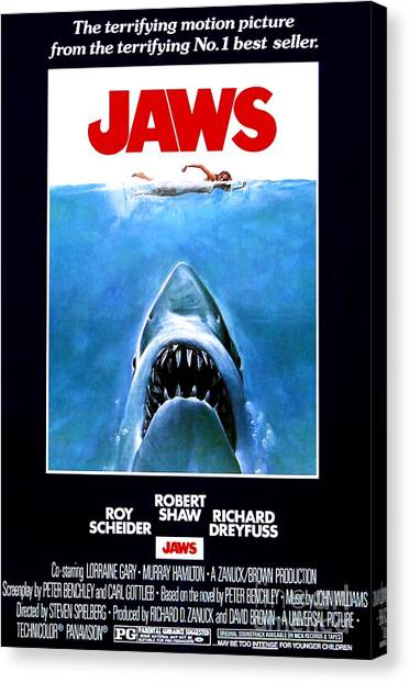 Jaws Canvas Print - Jaws Movie Poster - 1975 by The Titanic Project