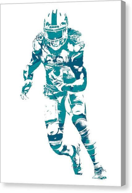 Miami Dolphins Canvas Print - Jay Ajayi Miami Dolphins Pixel Art 10 by Joe Hamilton