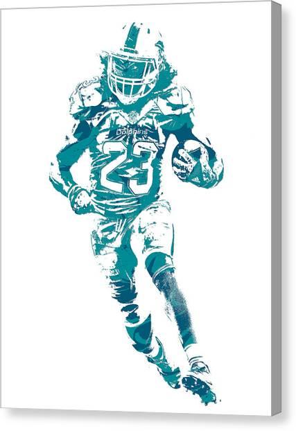 Miami Dolphins Canvas Print - Jay Ajayi Miami Dolphins Pixel Art 11 by Joe Hamilton