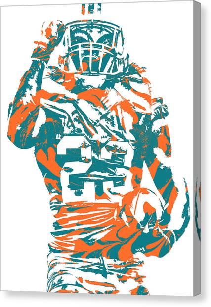 Miami Dolphins Canvas Print - Jay Ajayi Miami Dolphins Pixel Art 5 by Joe Hamilton