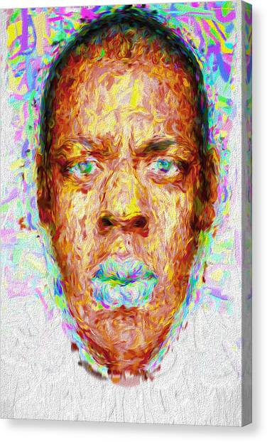 Brooklyn Nets Canvas Print - Jay Z Painted Digitally 2 by David Haskett