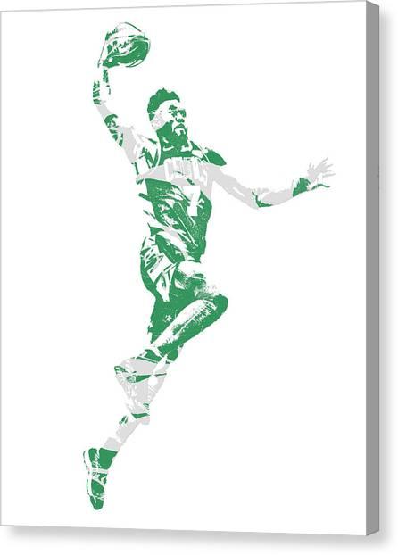 Boston Celtics Canvas Print - Jaylen Brown Boston Celtics Pixel Art 10 by Joe Hamilton