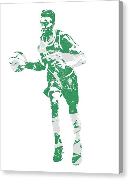 Boston Celtics Canvas Print - Jaylen Brown Boston Celtics Pixel Art 30 by Joe Hamilton