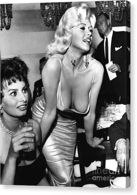 Jayne Mansfield Hollywood Actress And, Italian Actress Sophia Loren 1957 Canvas Print
