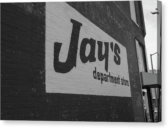 Canvas Print featuring the photograph Jay's Department Store In Bw by Doug Camara