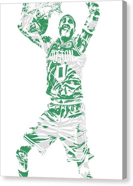 Boston Celtics Canvas Print - Jayson Tatum Boston Celtics Pixel Art 11 by Joe Hamilton