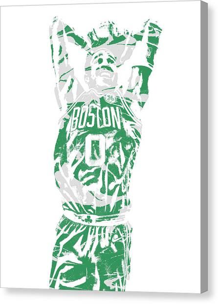 Boston Celtics Canvas Print - Jayson Tatum Boston Celtics Pixel Art 12 by Joe Hamilton
