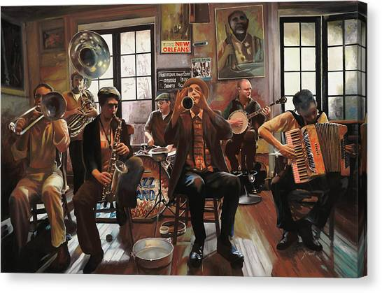 Saxophone Canvas Print - Jazz A 7 by Guido Borelli