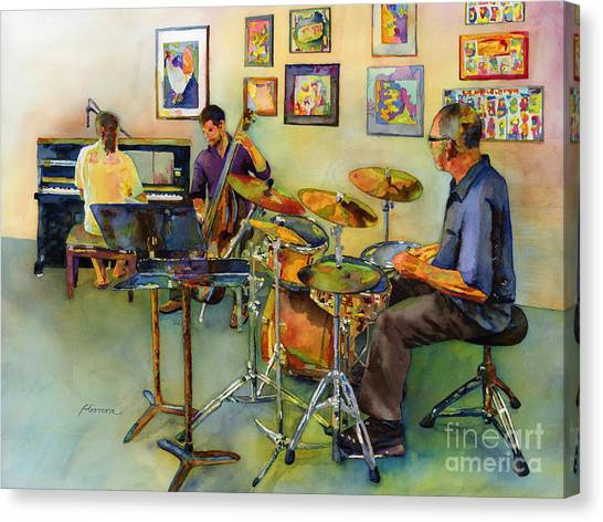 Performing Canvas Print - Jazz At The Gallery by Hailey E Herrera