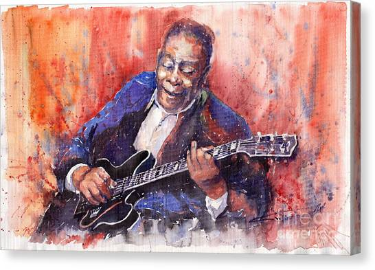 Music Canvas Print - Jazz B B King 06 A by Yuriy Shevchuk